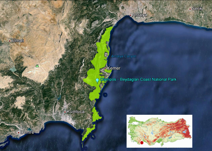 Olympos_Beydaglari _Coast_National_Park_Map